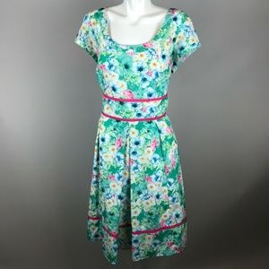 Eshakti Green Spring Floral Short Sleeve Dress